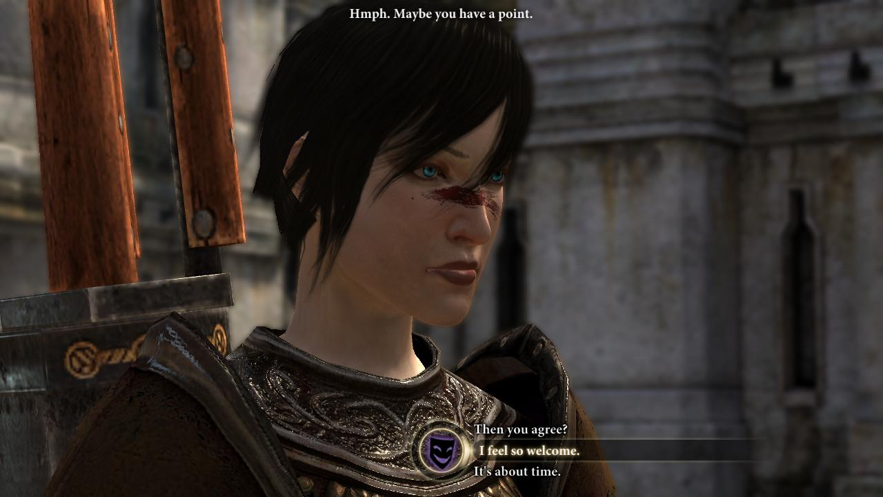 Dragon Age 2 dialogue with lady Hawke